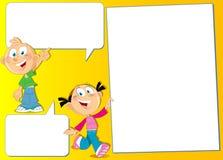 Muchacho y muchacha con los carteles Foto de archivo