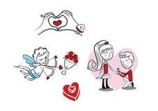 Muchacho y muchacha, cupido, anillo del amor Fotografía de archivo libre de regalías
