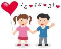 Muchacho y muchacha de día de las tarjetas del día de San Valentín Foto de archivo