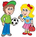 Muchacho y muchacha de la historieta Foto de archivo libre de regalías