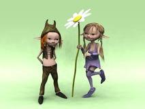Muchacho y muchacha de la historieta con la flor grande Fotografía de archivo