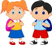 Muchacho y muchacha de la historieta con las mochilas Fotografía de archivo libre de regalías