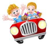 Muchacho y muchacha de la historieta en coche rápido Imagenes de archivo