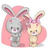 Muchacho y muchacha del conejo stock de ilustración