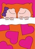 Muchacho y muchacha del ejemplo que duermen en cama Foto de archivo