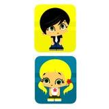 Muchacho y muchacha del icono Foto de archivo libre de regalías