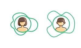 Muchacho y muchacha del icono en asimetría stock de ilustración