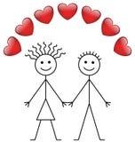 Muchacho y muchacha del palillo de la tarjeta del día de San Valentín Imagen de archivo libre de regalías