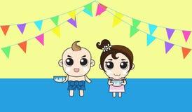 Muchacho y muchacha en festival del agua libre illustration