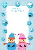 Muchacho y muchacha en la estación del invierno, marco stock de ilustración