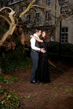 Muchacho y muchacha en ropa victoriana que abrazan en el parque foto de archivo