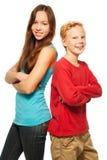 Muchacho y muchacha felices Imagen de archivo