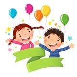 Muchacho y muchacha lindos con el globo y la cinta en blanco ilustración del vector