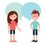 Muchacho y muchacha que hablan el uno al otro Conversación y distribución del ejemplo del vector de las ideas ilustración del vector