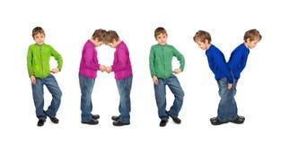 Muchacho y muchacha que hacen la palabra BEBÉ, collage fotografía de archivo libre de regalías