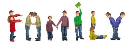 Muchacho y muchacha que hacen la palabra FAMILIA, collage Foto de archivo libre de regalías