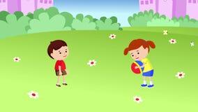 Muchacho y muchacha que juegan la bola ilustración del vector