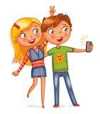 Muchacho y muchacha que presentan junto stock de ilustración