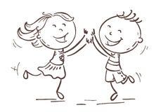 Muchacho y muchacha que saltan con la alegría, vector de la historieta ilustración del vector