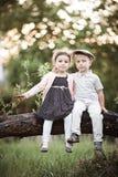Muchacho y muchacha que se sientan en árbol Foto de archivo