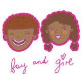Muchacho y muchacha sonrientes Imagenes de archivo