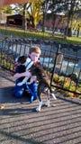 Muchacho y perro Foto de archivo
