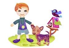 Muchacho y perro libre illustration