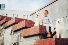 Muchacho y perros Imágenes de archivo libres de regalías