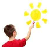 Muchacho y sol Foto de archivo
