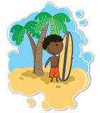 Muchacho y tabla hawaiana del African-American Libre Illustration
