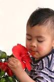 Muchacho y una flor Imagen de archivo