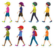 Muchachos anónimos con los sombreros Imagen de archivo