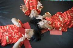 Muchachos chinos en festival chino del Año Nuevo Fotografía de archivo