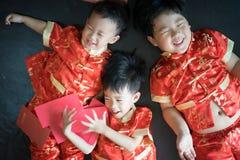 Muchachos chinos en festival chino del Año Nuevo Fotos de archivo