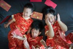 Muchachos chinos en festival chino del Año Nuevo Imagenes de archivo