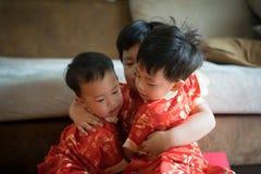 Muchachos chinos en festival chino del Año Nuevo Foto de archivo