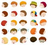 Muchachos con diversas emociones stock de ilustración