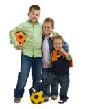 Muchachos con el balompié Imágenes de archivo libres de regalías