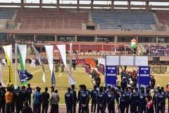 MUCHACHOS de la celebraci?n 2018 de los deportes de DAV National imagen de archivo