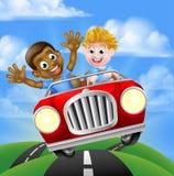 Muchachos de la historieta que conducen el coche ilustración del vector