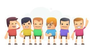 Muchachos en camisetas coloreadas stock de ilustración