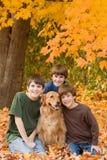 Muchachos en las hojas de la caída Foto de archivo libre de regalías