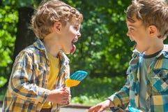 Muchachos gemelos en los colores de la bandera ucraniana Fotografía de archivo libre de regalías