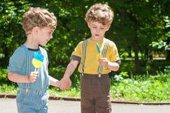 Muchachos gemelos que llevan a cabo las manos Imagenes de archivo