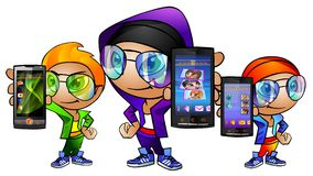 Muchachos jovenes felices con los teléfonos celulares Imagen de archivo libre de regalías