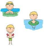 Muchachos lindos del nadador del vector en diversas situaciones del deporte en el po libre illustration