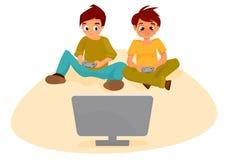 Muchachos que juegan a los juegos video Imágenes de archivo libres de regalías