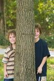 Muchachos que miran a escondidas alrededor de un árbol Foto de archivo