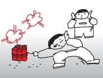 Muchachos y fuegos artificiales Imagen de archivo libre de regalías