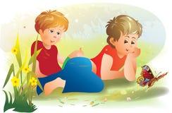 muchachos y mariposa Imagen de archivo libre de regalías